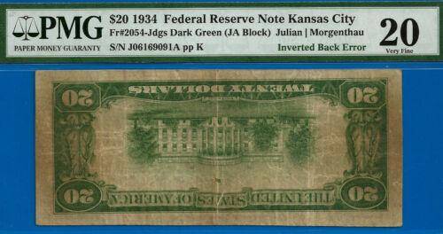 1934 $20 FRN (( INVERTED BACK ERROR )) PMG 20 - Kansas City - J06169091A