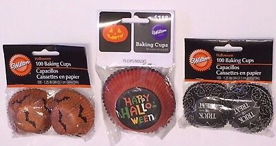 Wilton Set of 3 Baking Cups, Happy Halloween, Trick or Treat & Bats