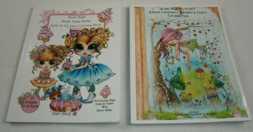 LOT 2 SHERRI BALDY PRE OWNED COLORING BOOKS -SWEET TREATS & MAGICAL CREATURES