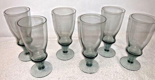 (6) Vintage mid century Bjorkshult Sweden Smoke Blue-Gray 6 oz. Glasses