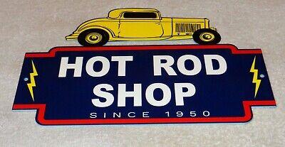 "VINTAGE REPAIR HOT ROD SHOP & AUTO PARTS CA.1950 12"" METAL CAR GASOLINE OIL SIGN"