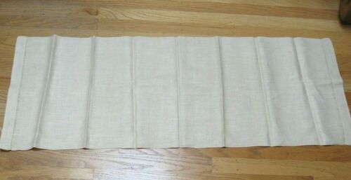 """Vint. Arts Crafts Table Runner Woven Linen Tan 46""""x17"""" Hem Stitched Unused No.1"""