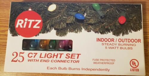 Christmas Lights C7 Translucent Multicolor Bulb Green Wire 25ct 07252 724