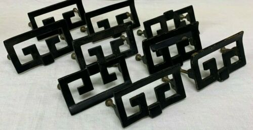 Set Lot of 9 Replacement Furniture Handles Pulls Square Graphic MCM Mid Century