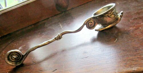 Pewter Candle Snuffer Hand Holding Bowl Flowers Scrolled Handmade