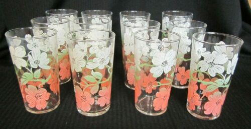 VINTAGE MCM FEDERAL GLASS TUMBLERS SET OF 12 PINK GREEN WHITE FLOWERS 4 3/4""