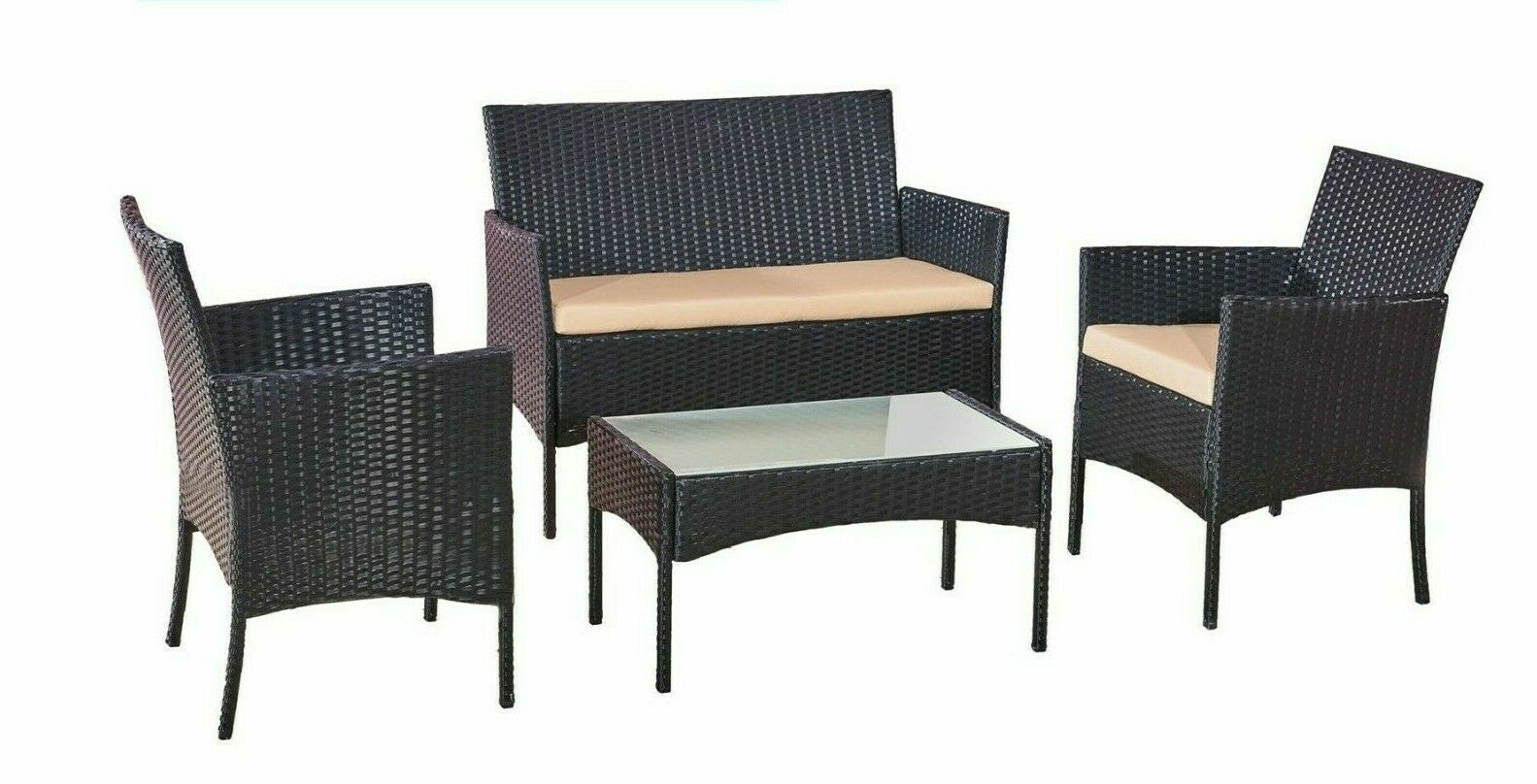 Garden Furniture - 4 PCs Rattan Garden Furniture Set With Chairs and Table in Black/ Brown/ Grey