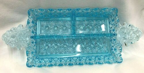 Vintage EAPG Blue Daisy & Buttons Divided Serving Dish Victorian