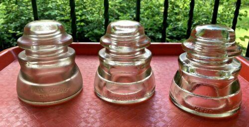 Lot 3 Antique Glass INSULATORS Insulator Clear Kerr Armstrong Whitall Tatum *