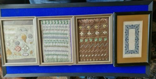 Four Framed Samplers/Embroideries  - 19th Century Victorian - Re Framed