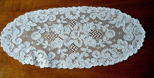 Antique doily Alencon  lace table dresser top French  Alencon lace oval design.