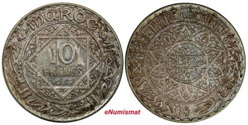Morocco Mohammed V Silver AH1347 (1929) 10 Francs PARIS MINT  aUNC Toned Y# 38