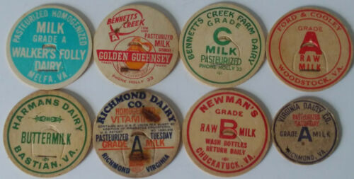8 VINTAGE MILK BOTTLE CAPS FROM 7 DIFFERENT VIRGINIA DAIRIES