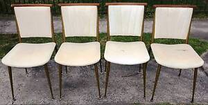 Set of 4 Retro Dining Chairs Upholstered Metal + Teak Atomic South Windsor Hawkesbury Area Preview