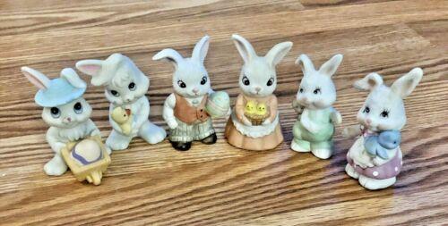 "Vintage Easter Homco Bunny Rabbit Figurines 3"" Set of 6"