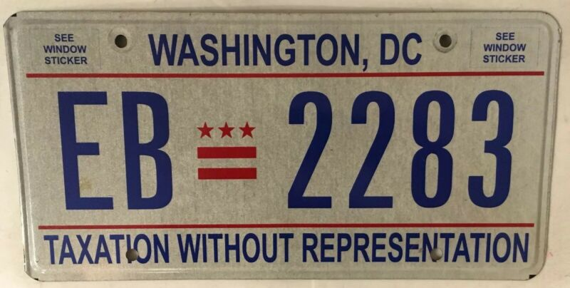 District Columbia Taxation license plate D.C. USA Graphic Washington DC #EB 2283