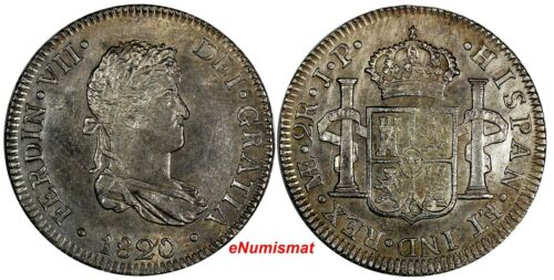PERU Fernando VII Silver 1820 LIMA JP 2 Reales SCARCE UNC KM# 115.1(14 917)