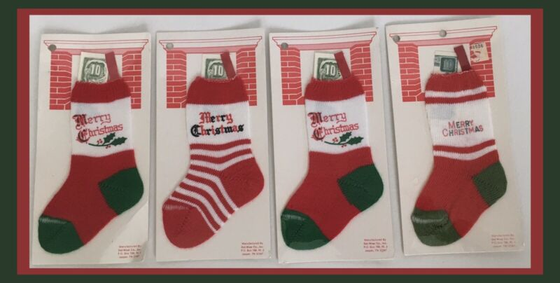 Vtg Dol-Wear Knit Christmas Stockings-Small Size - SET OF 4 - Great For $ Gifts