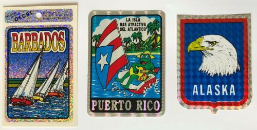 Lot of 3 Puerto Rico - Barbabos - Alaska Travel Tourist Prism Sticker Decal  NEW