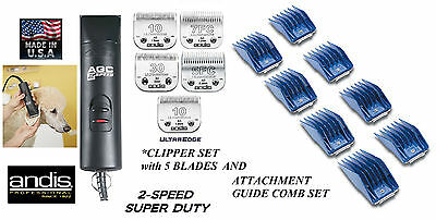 Andis PRO 2-Speed Clipper KIT&5 ULTRAEDGE BLADES&GUIDE COMB SET PET Dog GROOMING