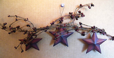 """17"""" Country Primitive pip Berry Floral rustic Twig garland SWAG METAL STAR Sign"""