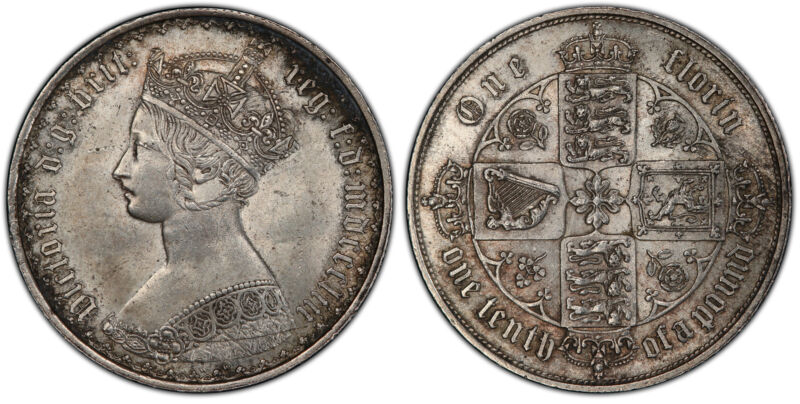 GR BRITAIN Victoria  1853 AR Gothic Florin, Two Shillings. PCGS MS63. SCBC-3891.