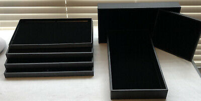 6 Black Stackable Jewelry Display Trays W Felt Inserts And 1 Ring Display Tray
