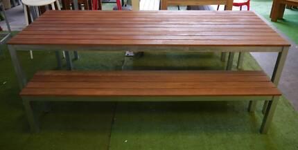 New Outdoor Furniture Timber 3 Pc Bar Restaurant Cafe Dining Set