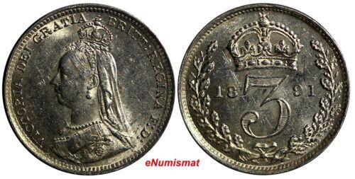 Great Britain Victoria (1837-1901) Silver 1891 3 Pence KM# 758