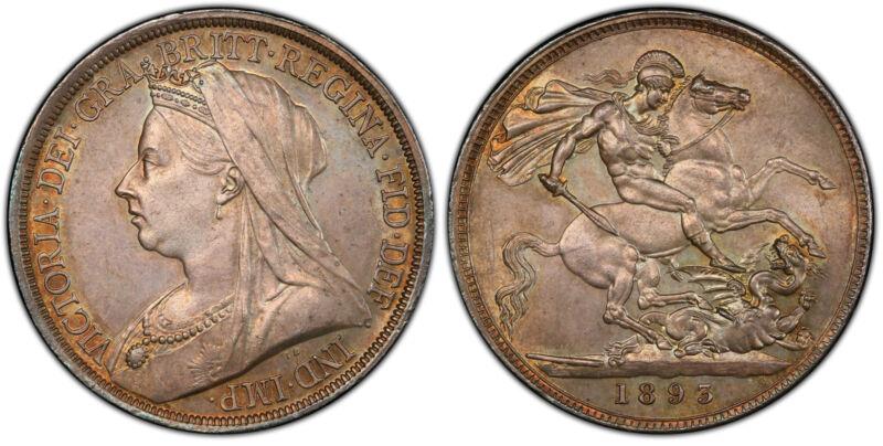 GREAT BRITAIN Victoria 1893-LVI AR Crown. PCGS MS63 SCBC-3937.