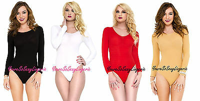 - OPAQUE TEDDY Long Sleeve Round Neck BODY SUIT Snap Crotch NYLON OS