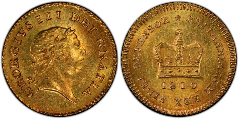GR. BRITAIN George III 1810 AV Third-Guinea. PCGS MS62 KM 650; SCBC-3740.