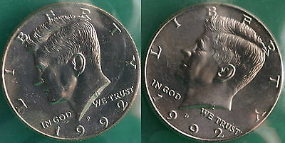1992 P and D Kennedy Half Dollar Coin from US Mint Set 2 BU Cello Fifty Cent UNC