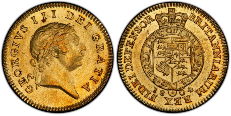 GR. BRITAIN George III 1804 AV Half-Guinea. PCGS AU58 SCBC-3737; Fr.-367.