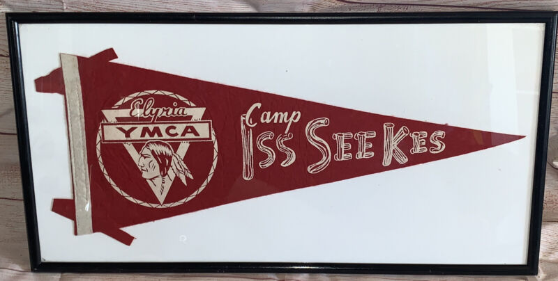 Vintage YMCA CAMP ISS SEE KES Elyria, OHIO Souvenir Felt Pennant RARE Banner