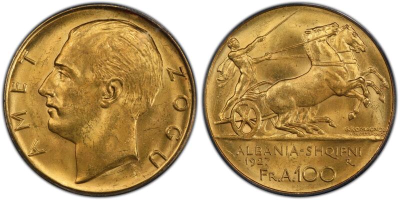 ALBANIA Zog I 1927-R AV 100 Franga Ari PCGS MS62 Rome KM 11a.1 Variety w/o stars