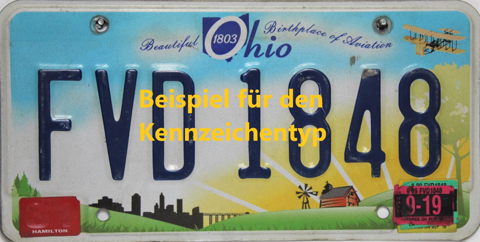 Ohio  License Plate Embossed original US Nummernschild  Originalbild