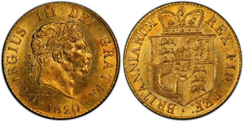 GR. BRITAIN George III 1820 AV Half-Sovereign PCGS MS62 SCBC-3786; Friedberg 372