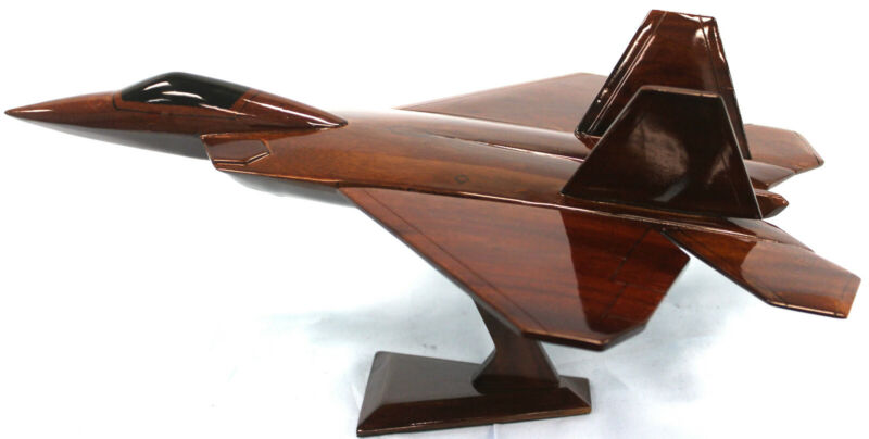 F22 RAPTOR RAPIER Wooden Model Airplane Mahogany-W- Personalized Plaque