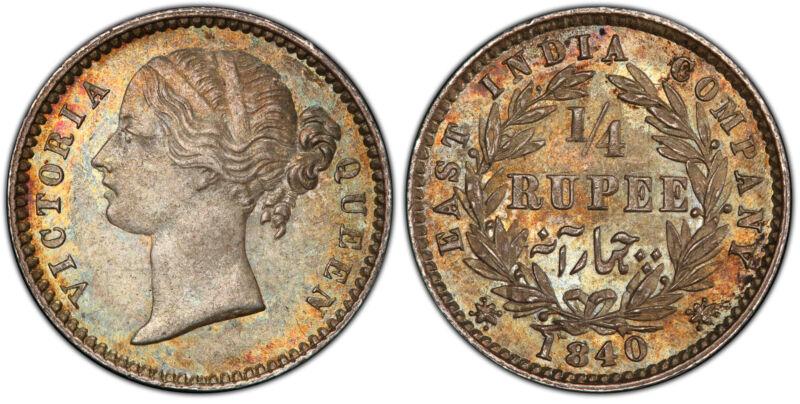 INDIA-BRITISH. Victoria 1840-(b & c) AR 1/4 Rupee. PCGS MS65 Bombay Pridmore 105