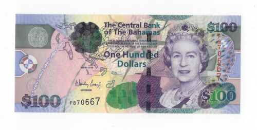 BAHAMAS $100 Dollars 2009, P-76, Iconic QEII Banknote, Pack Fresh UNC, Desirable