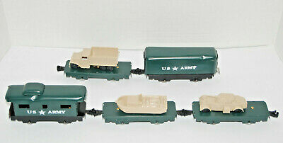 """ARMY TRAIN, O GAUGE, 6"""" CARS WITH REPRO LOADS, REPAINTED CUSTOM SET AS SEEN"""