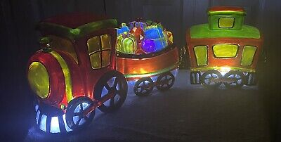"""3 Pc LED Illuminated Holiday Christmas Train Set w/Box 24""""x7"""" Excellent Cond!"""