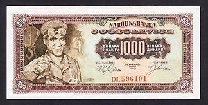 Yugoslavia 1000 Dinara 1963  AU  P. 75,   Banknotes, Uncirculated - España - Yugoslavia 1000 Dinara 1963  AU  P. 75,   Banknotes, Uncirculated - España
