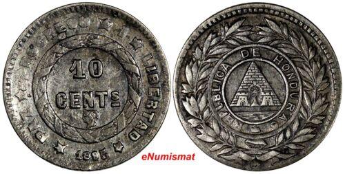 "Honduras Silver 1895 10 Centavos Large""5"" in Date ERROR ""REPLBLICA"" KM# 49"