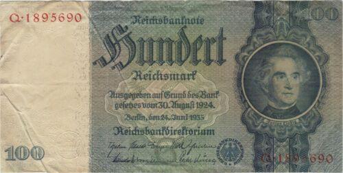 1935 100 REICHSMARK NAZI GERMANY CURRENCY BANKNOTE NOTE MONEY BILL SWASTIKA WWII