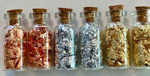 6  Bottles of Large... Gold - Silver - Copper..Flakes.. Lowest price on the Net