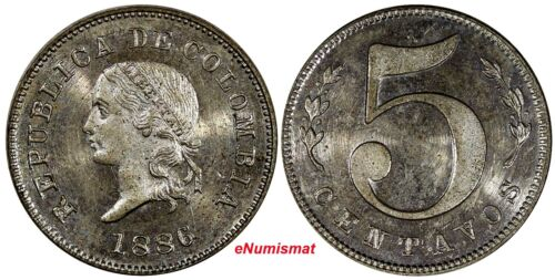 "COLOMBIA 1886 5 Centavos Large""5"" SPECIMENT STRIKE PROOF LIKE UNC  Restrepo# 363"
