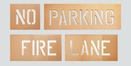 4 INCH TALL FONT NO PARKING FIRE LANE STENCIL CURB, GROUND, WALL