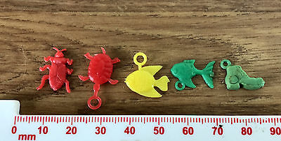 5 Mixed Fish / Insect / Boot Plastic Charms - Multi Coloured, With Loop